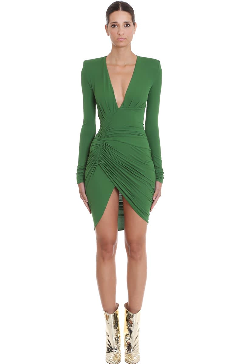Alexandre Vauthier Dress In Green Viscose