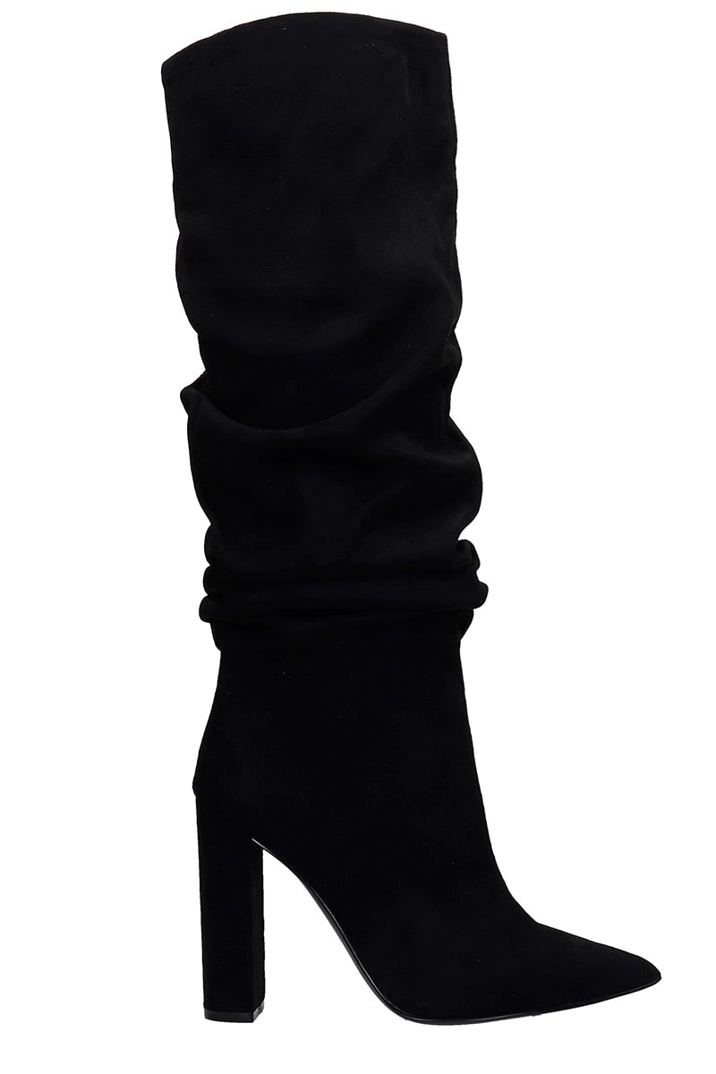Steve Madden Slouch High Heels Boots In Black Suede