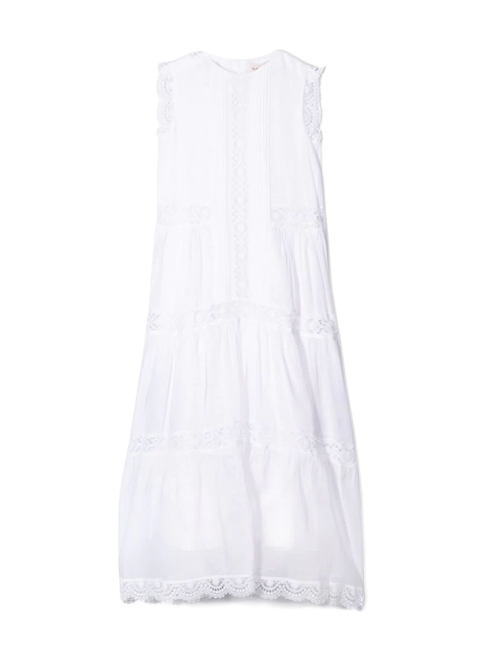 Alberta Ferretti White Cotton Long Dress