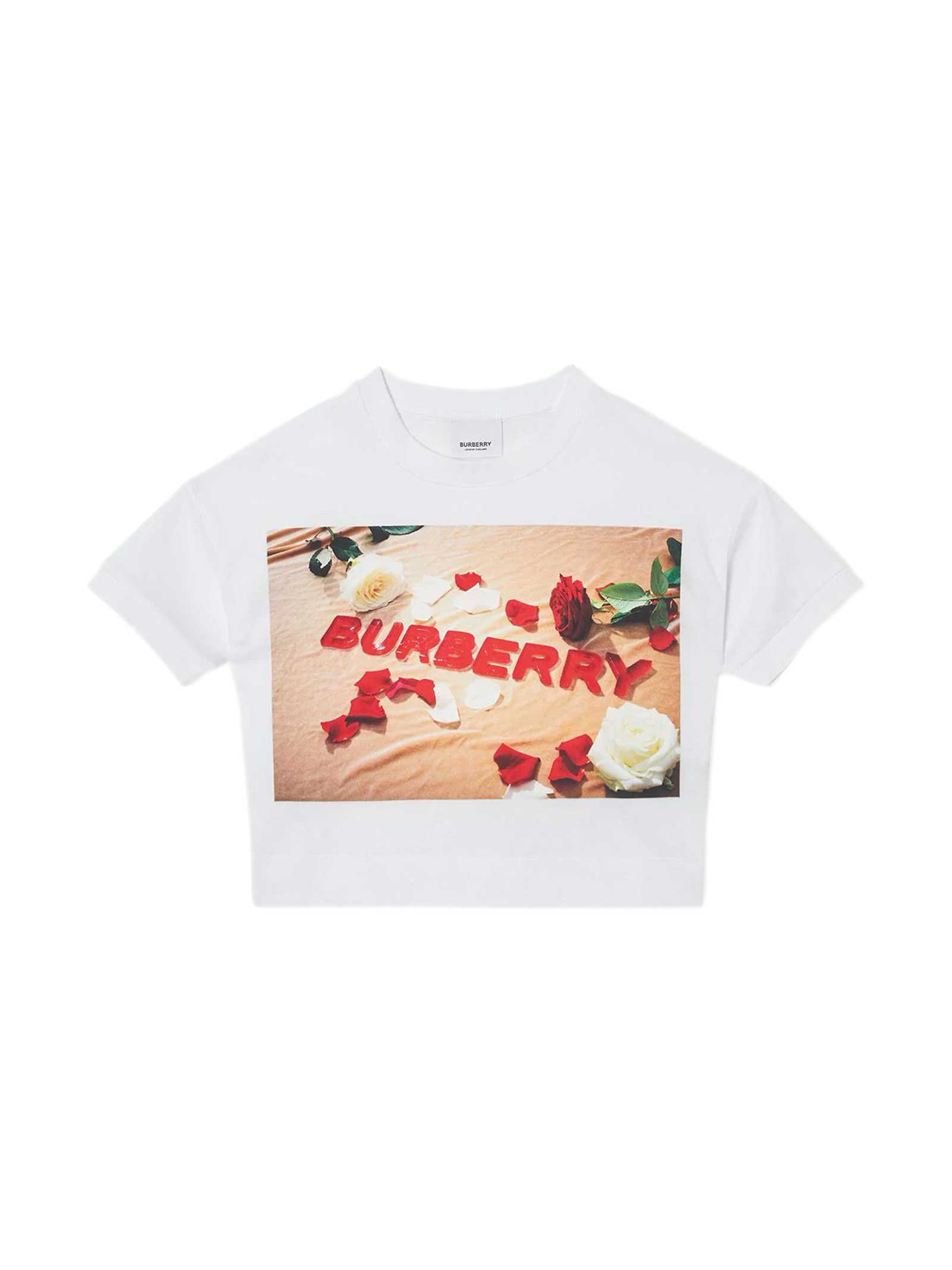 Burberry Kids' White T-shirt In Bianco