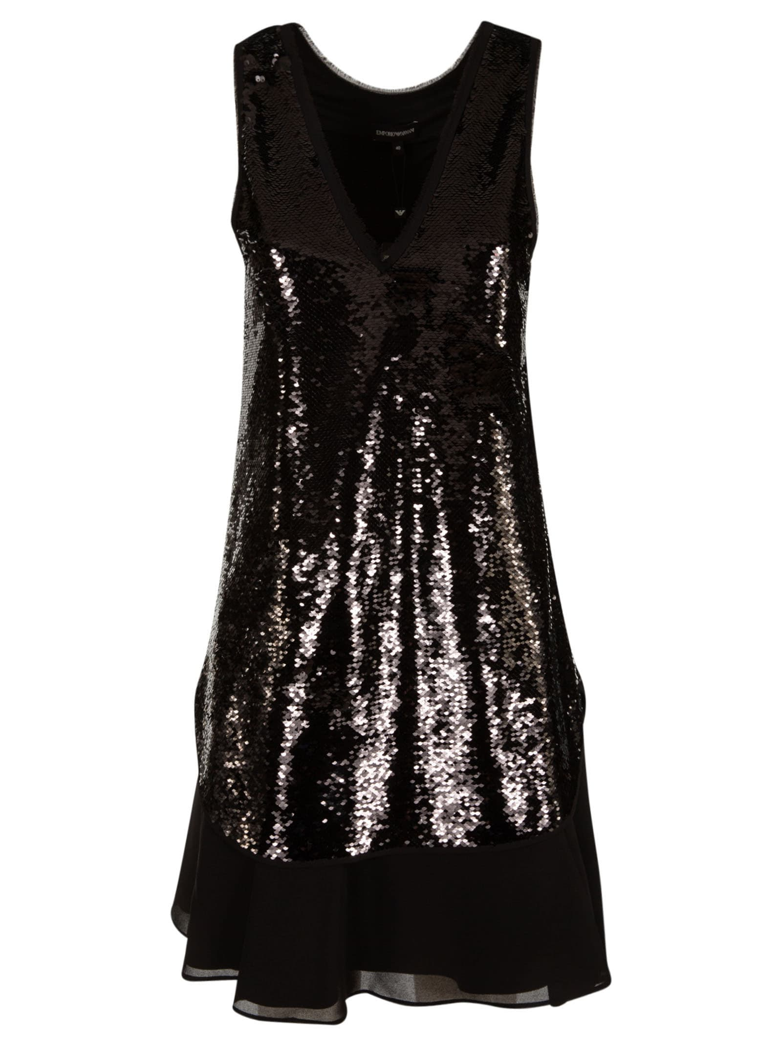 Buy Emporio Armani Sequin-coated Mid-length Dress online, shop Emporio Armani with free shipping
