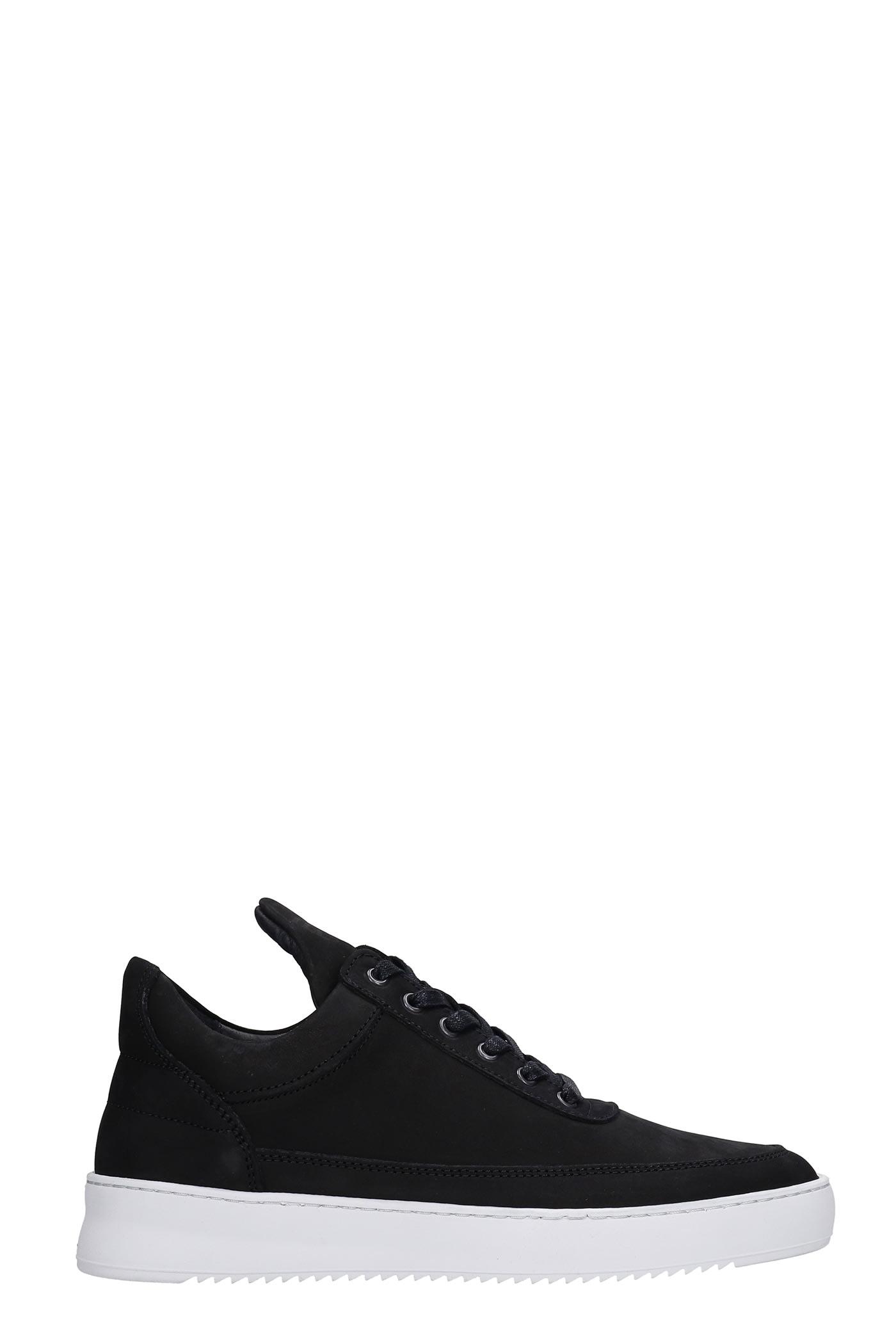 Low Top Ripple Sneakers In Black Nubuck