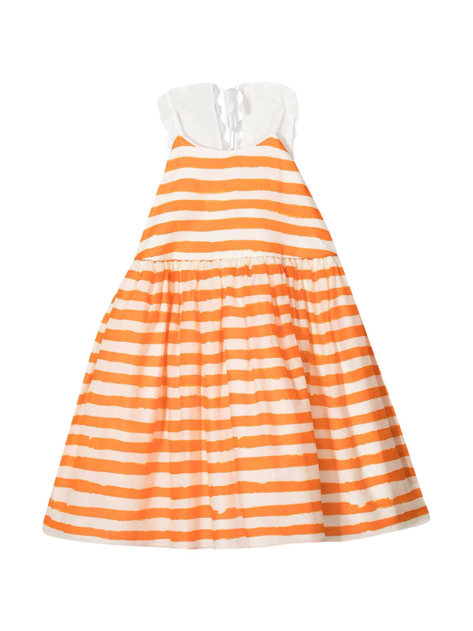 White And Orange Dress Mi Mi Sol Kids