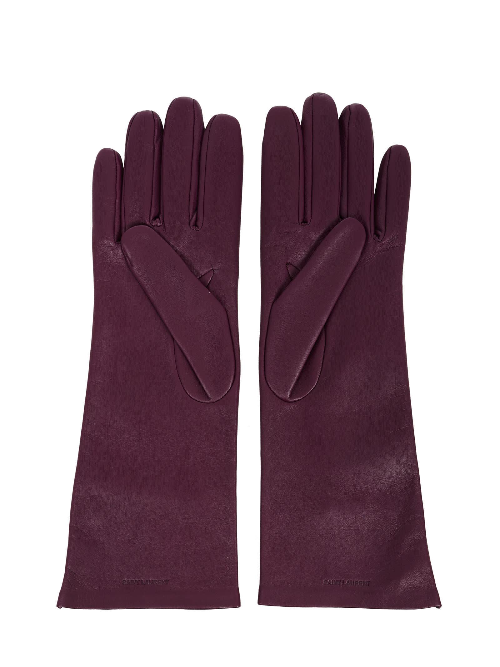 Saint Laurent Gloves In Purple