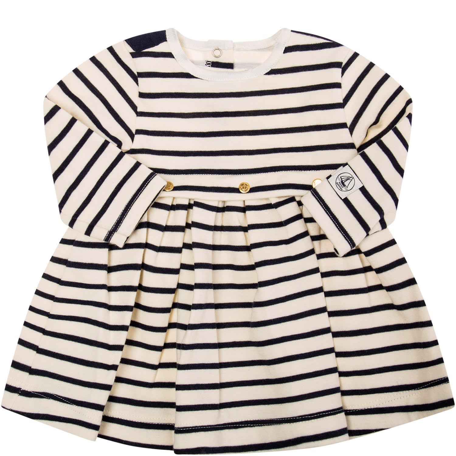 Petit Bateau Ivory Dress With Blue Stripes