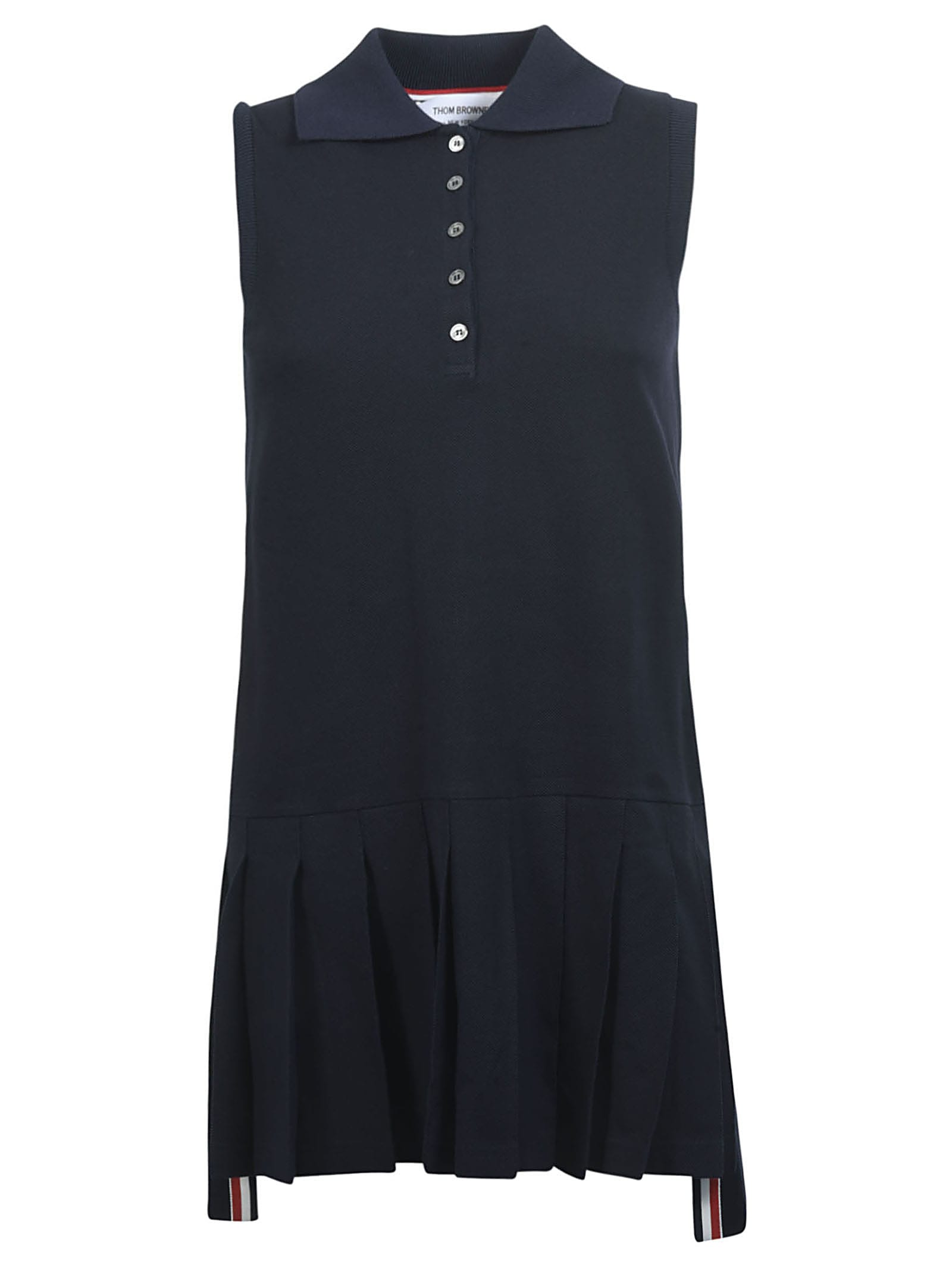 Buy Thom Browne Sleeveless Pleated Bottom Tennis Dress online, shop Thom Browne with free shipping