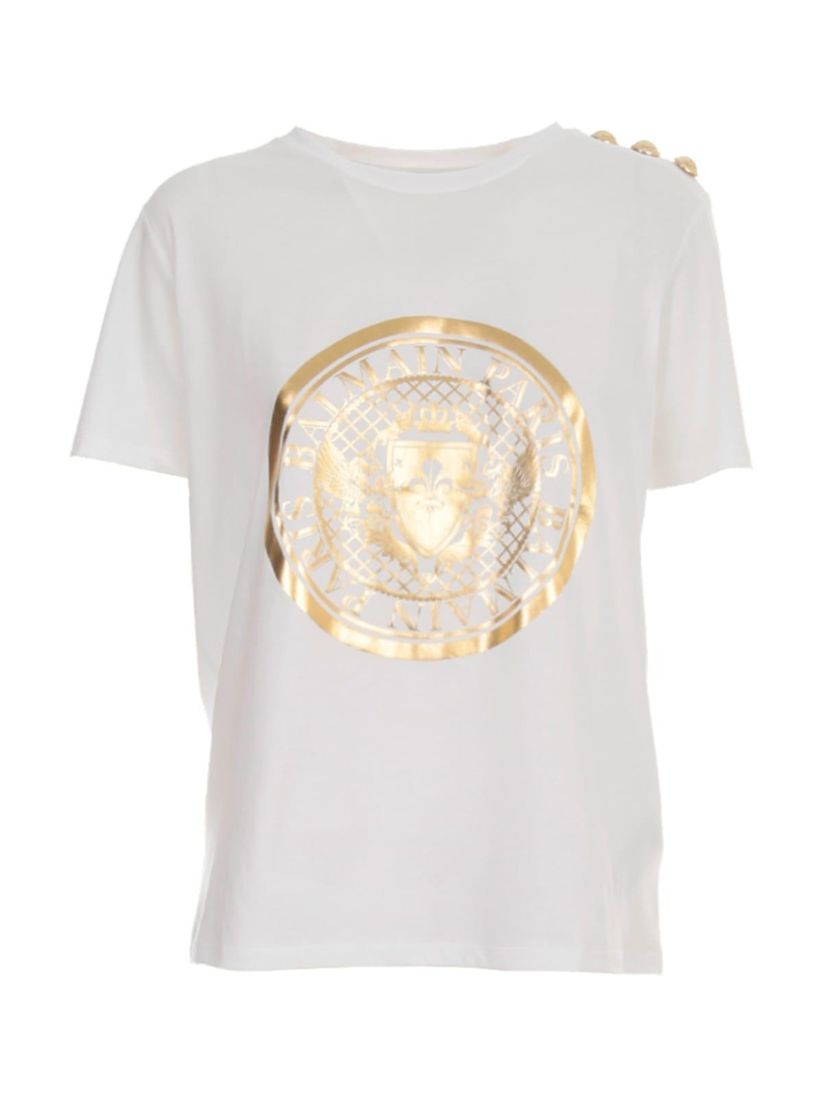 Balmain Ss 3 Btn Metallic Coin T-shirt