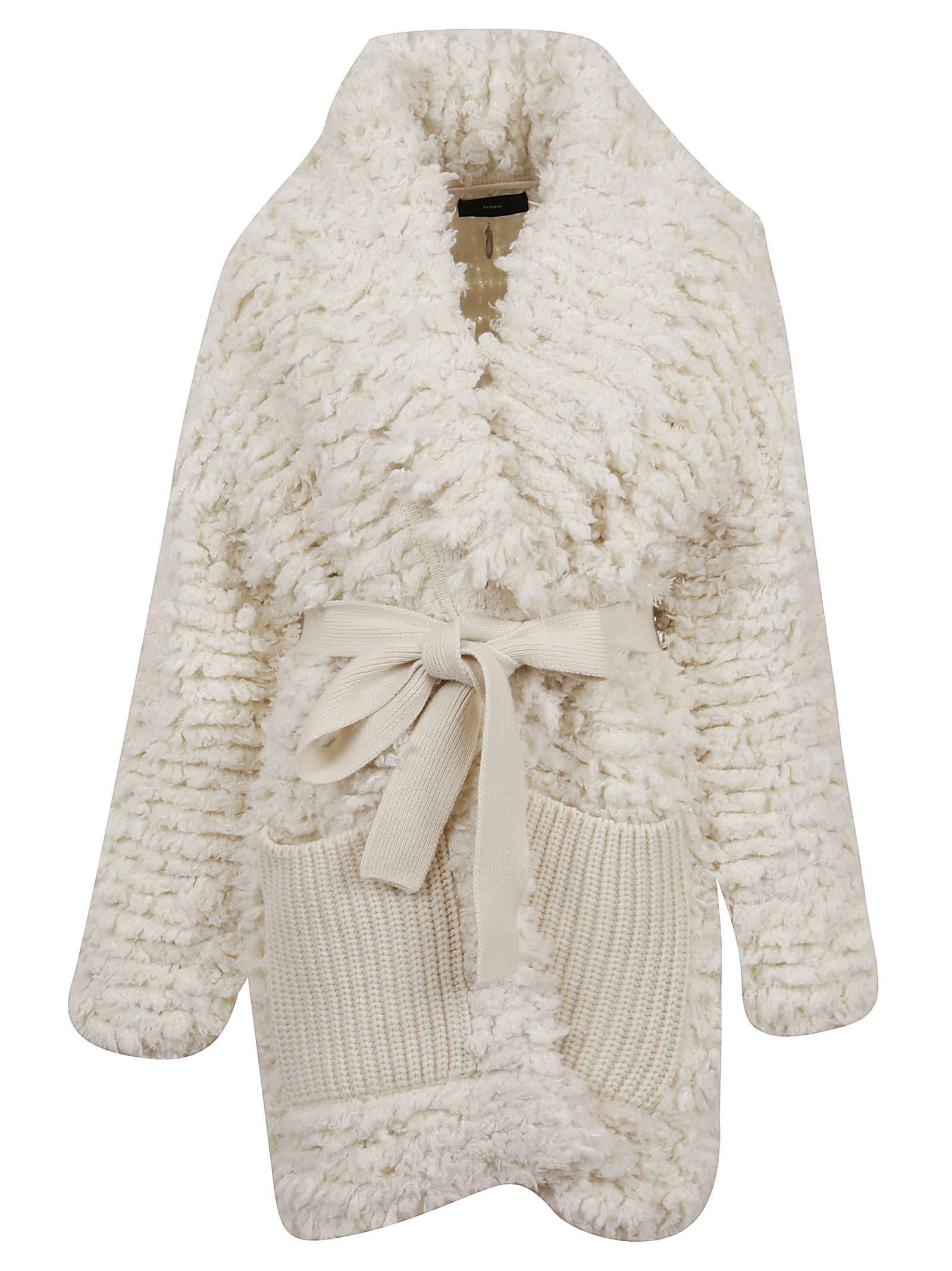 Alanui Fur Stitches Knitted Coat Lapponia White