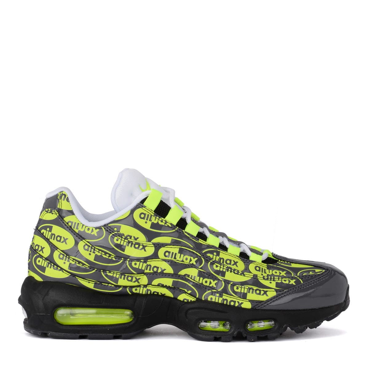 nouveau style e6e09 ed5e4 Nike Air Max 95 Grey Leather Sneaker With Fluo Print.