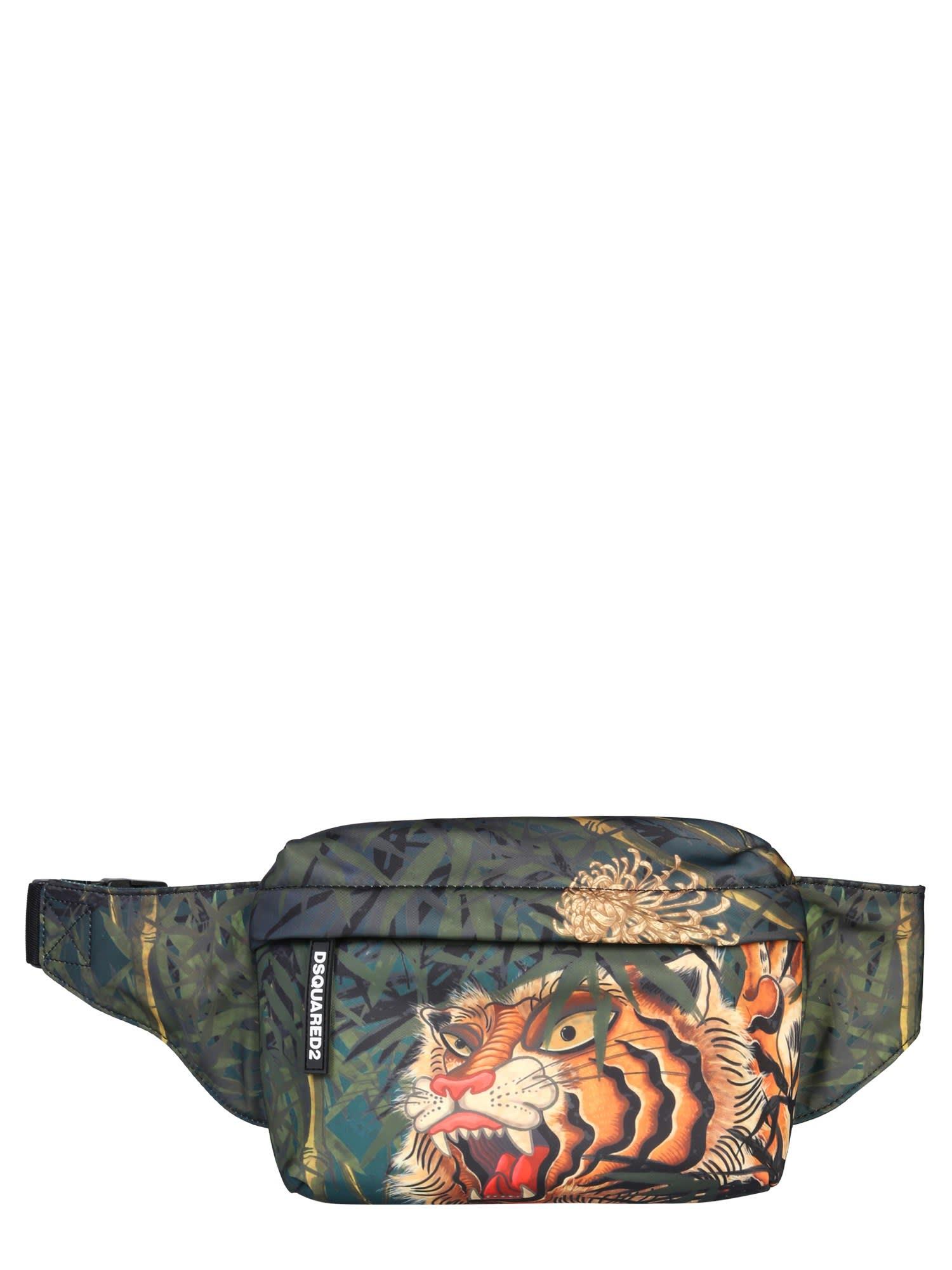 Dsquared2 Tiger Print Pouch In Multicolor
