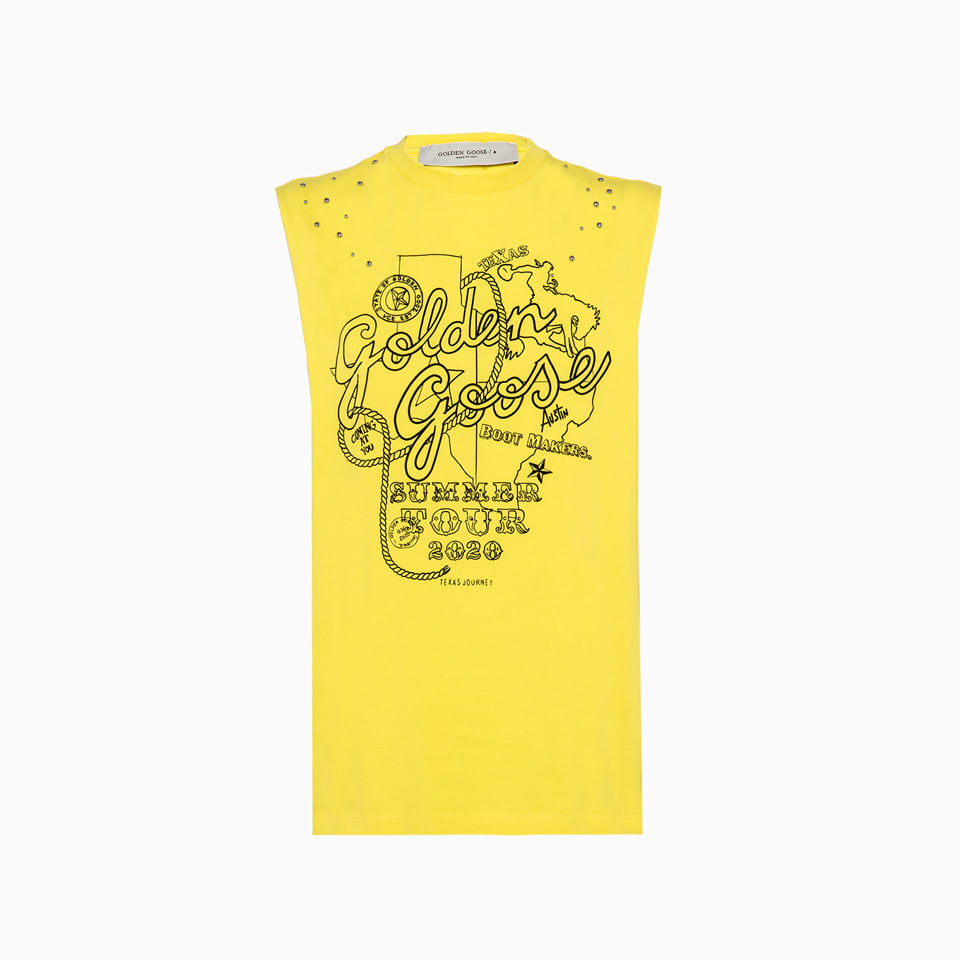 made in italy marfa crew neck t-shirt in solid color cotton. sleeveless and wide armholes and raw cut profiles. front marfa print and small metal decorations. regular fit. composition: 100% cotton.