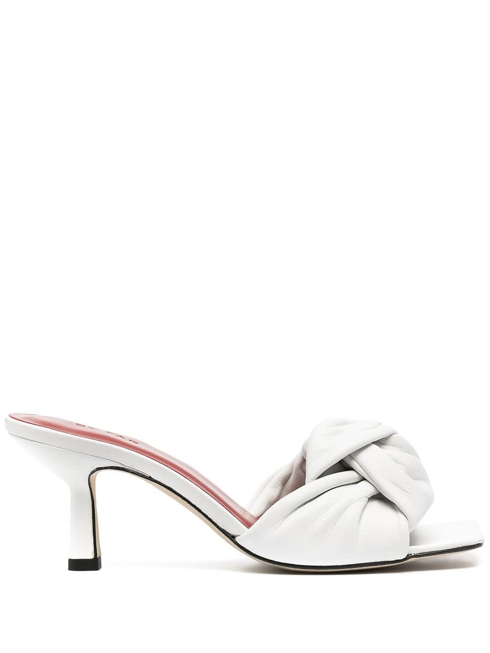 By Far LANA WHITE LEATHER MULES