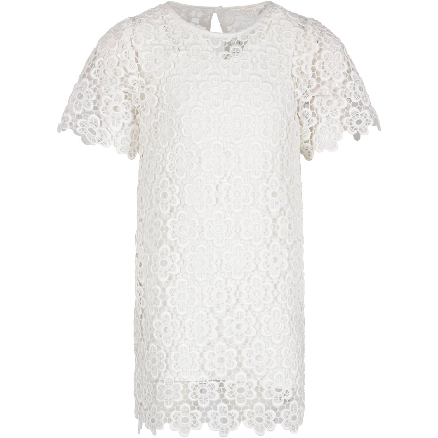 Buy Chloé White Girl Dress With Flowers online, shop Chloé with free shipping