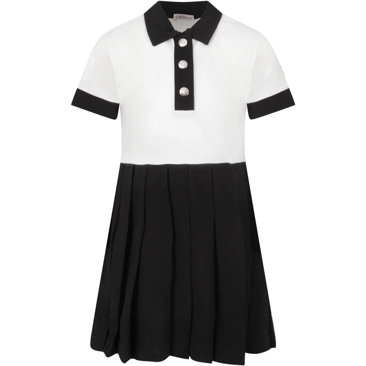 Buy Moncler Ivory And Black Girl Dress With Iconic Patch online, shop Moncler with free shipping