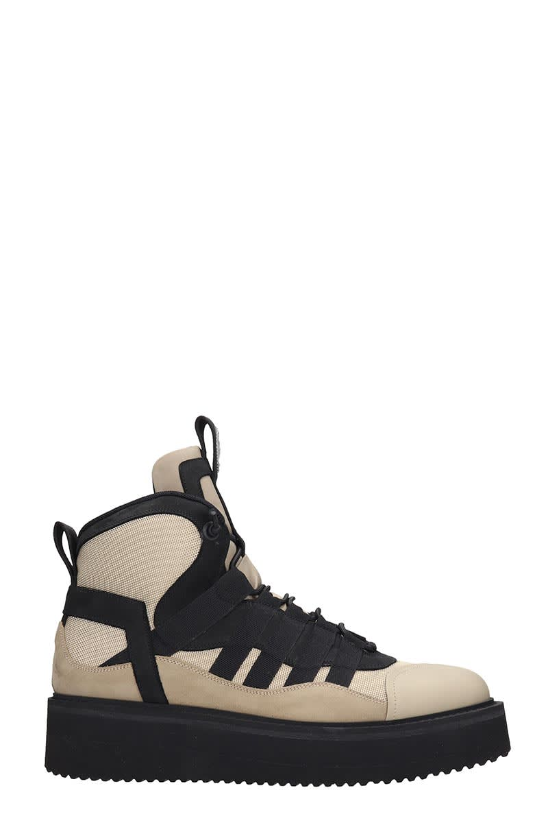 Bruno Bordese Mercury Combat Boots In Beige Leather And Fabric
