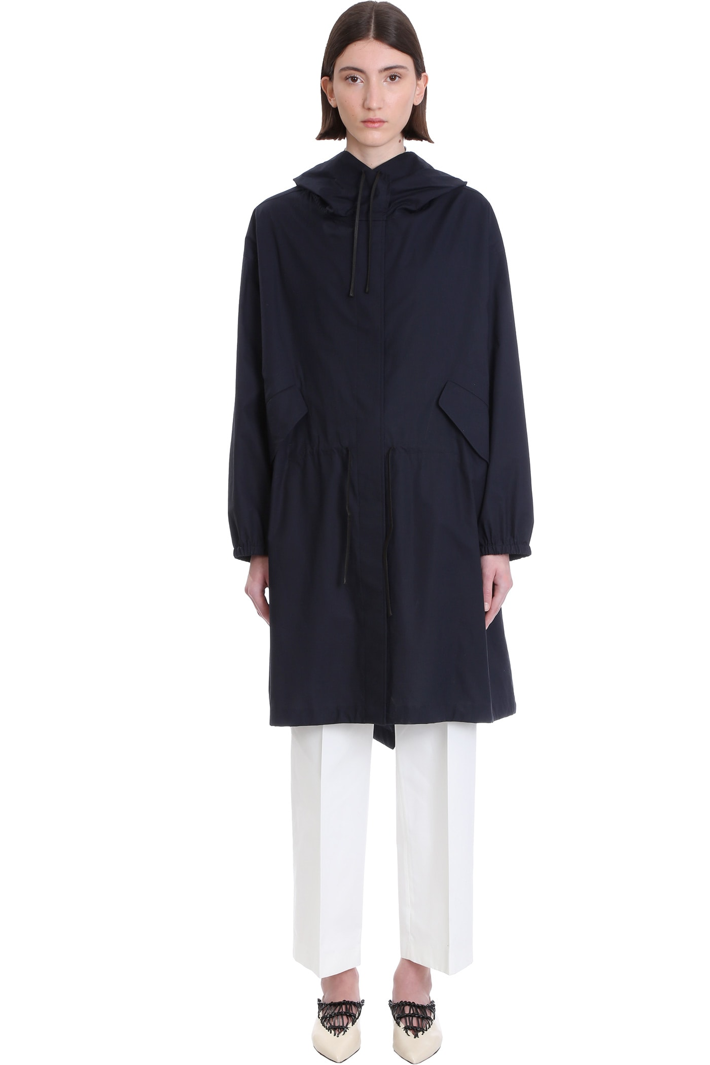 Jil Sander Coat In Blue Cotton