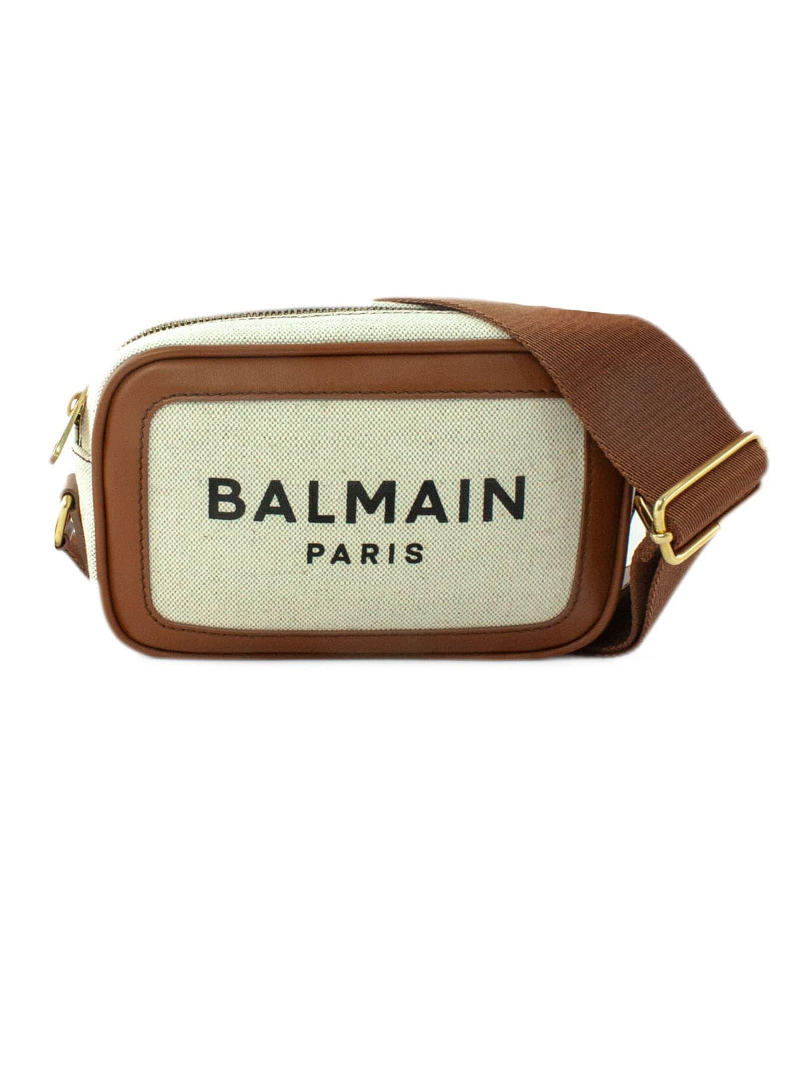 Balmain B-army Logo-print Crossbody Bag In Beige+cuoio