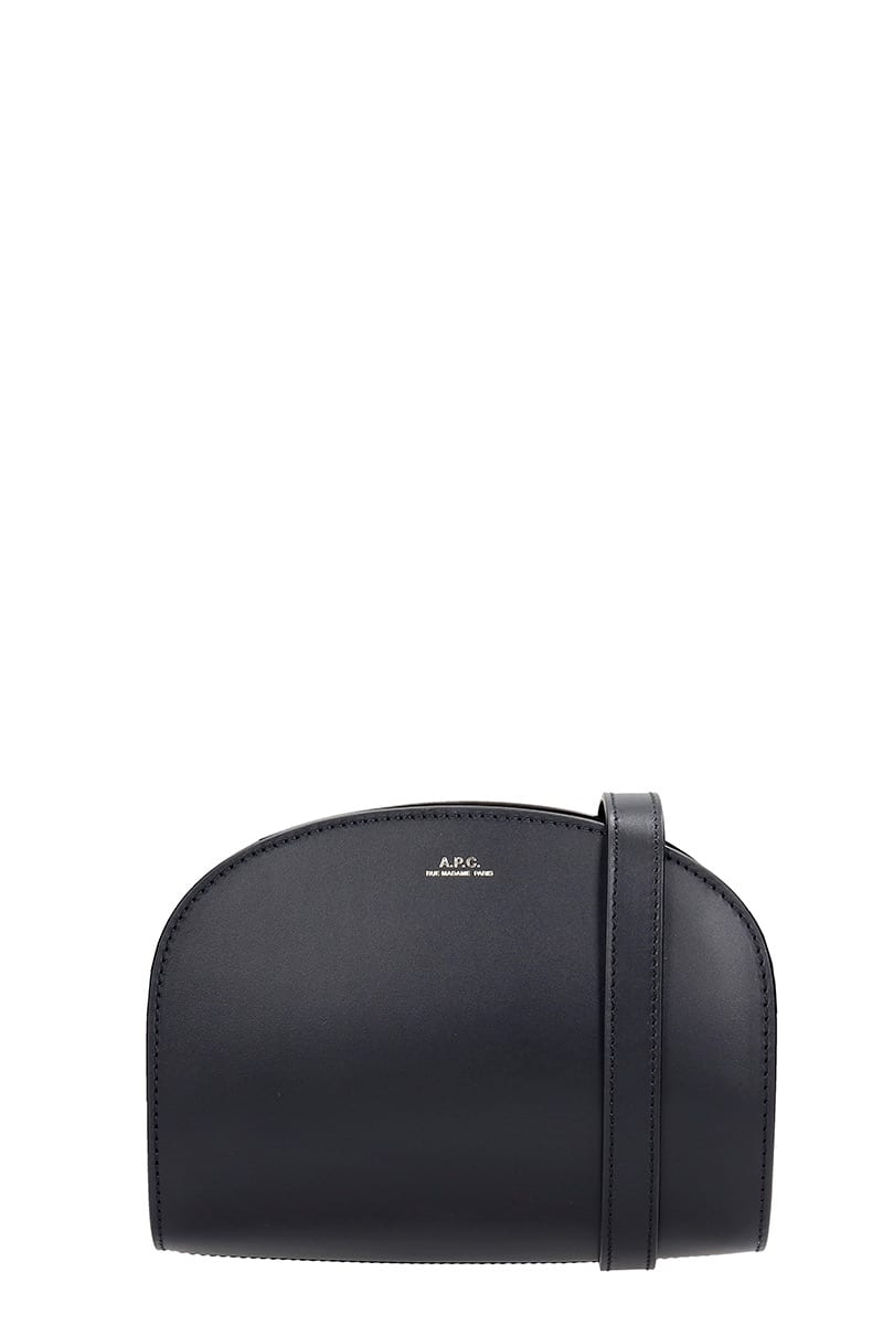 A.P.C. Demi Lune Shoulder Bag In Black Leather
