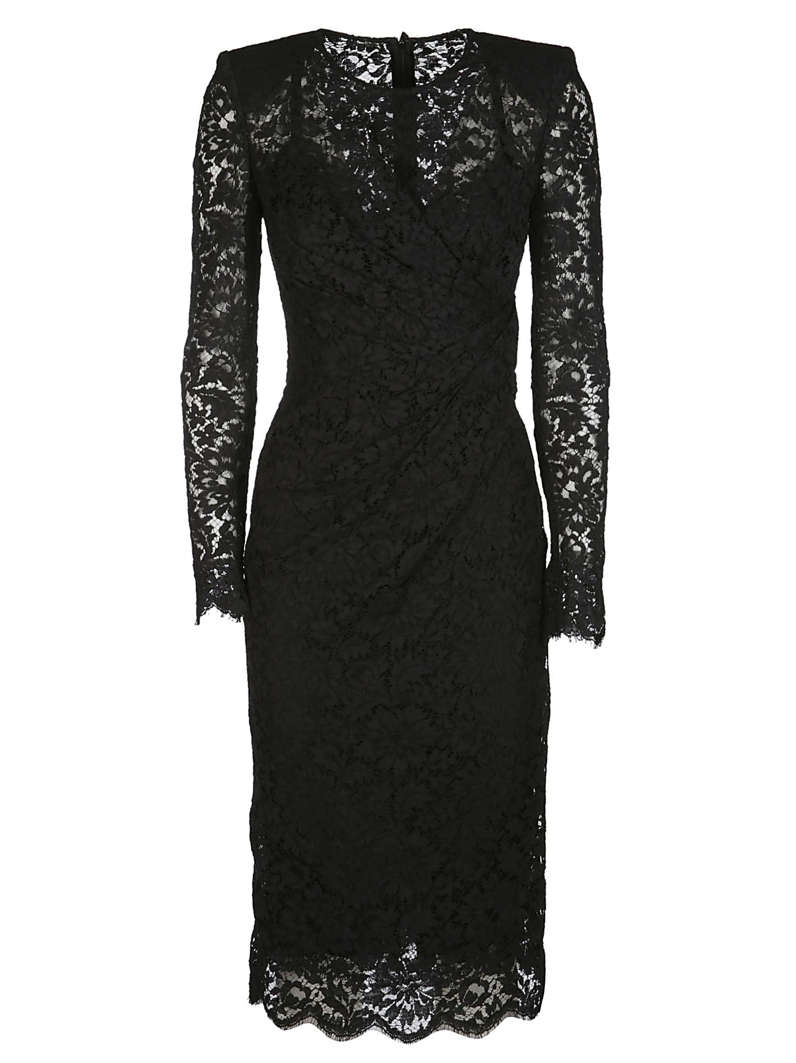 Buy Dolce & Gabbana Black Cotton Blend Dress online, shop Dolce & Gabbana with free shipping