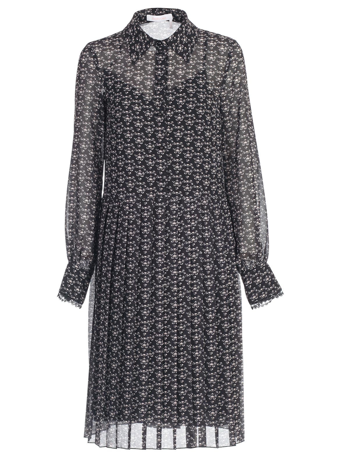 Buy See by Chloé Dress L/s Chemisier W/plisse In Front online, shop See by Chloé with free shipping