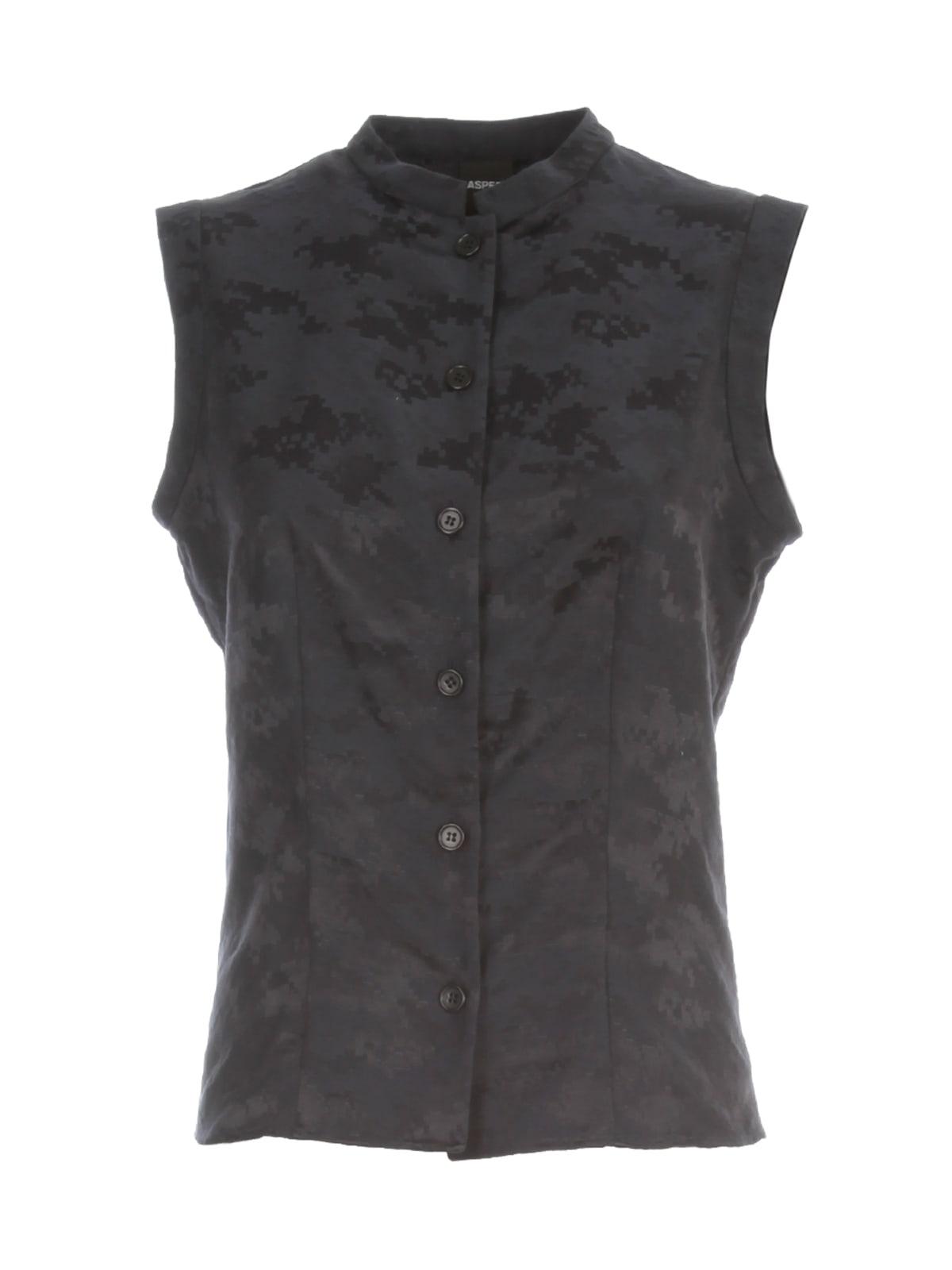 Aspesi Jacquard Sleeveless Shirt In Navy