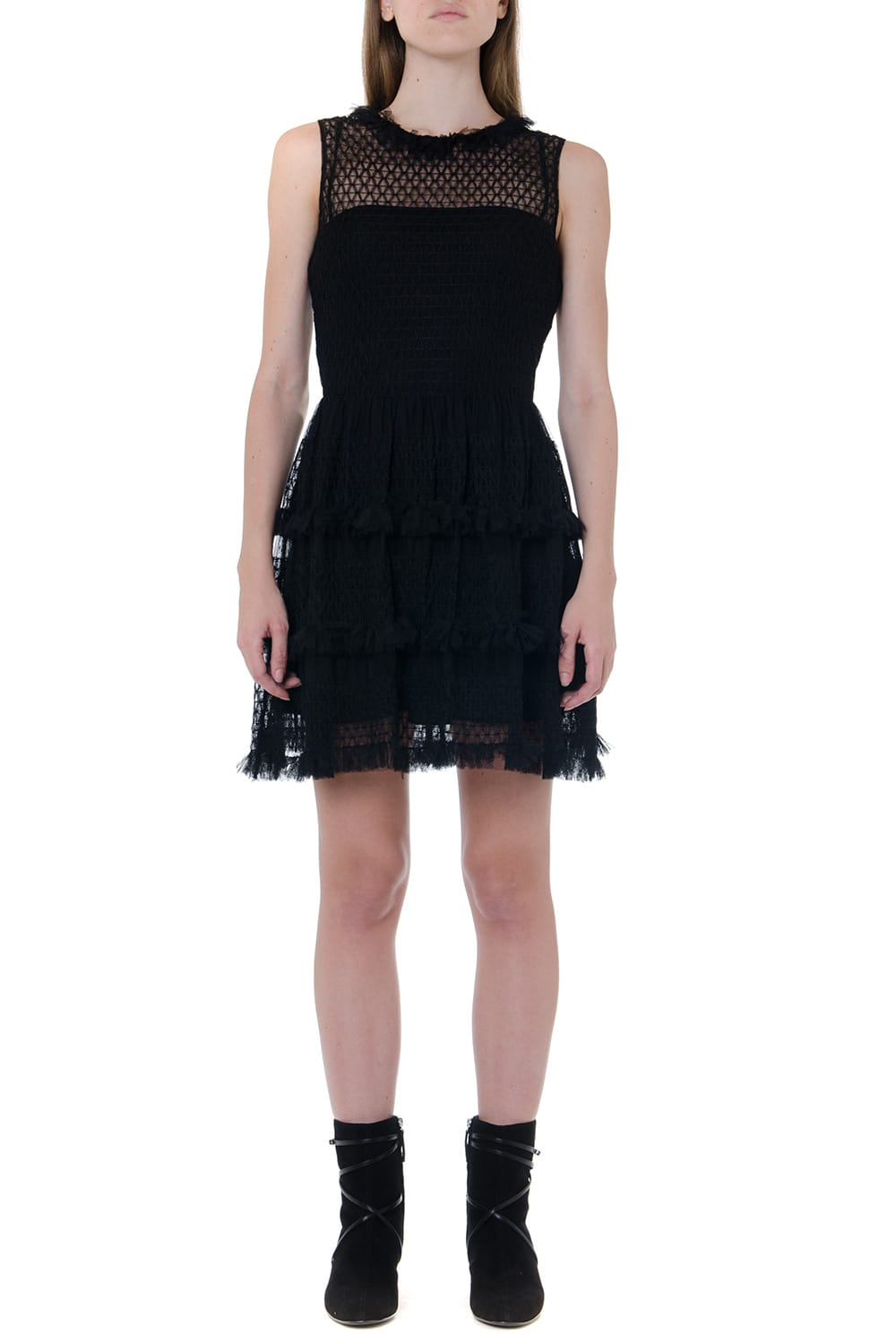 RED Valentino Black Frilled Mini Dress