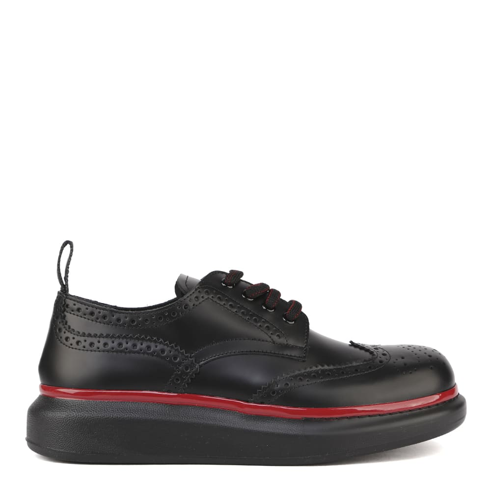 Alexander McQueen Oversized Sole Embroidered Leather Derby Shoes