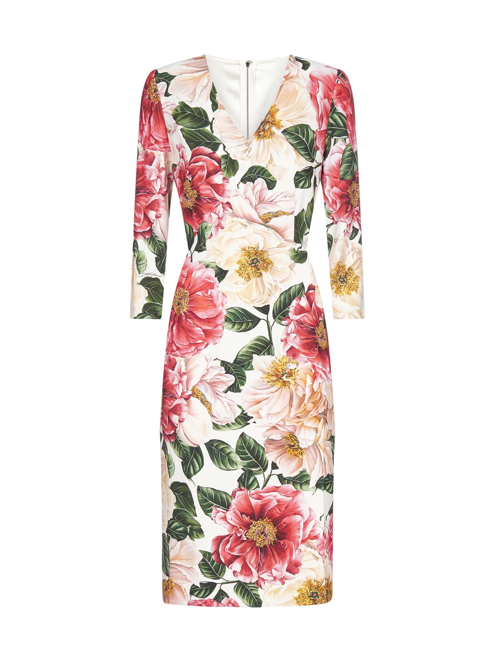 Buy Dolce & Gabbana Camellia-print Viscose Pencil Dress online, shop Dolce & Gabbana with free shipping