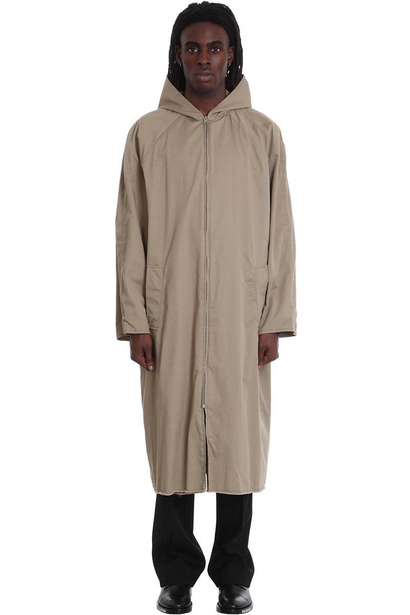 Balenciaga Coat In Beige Cotton