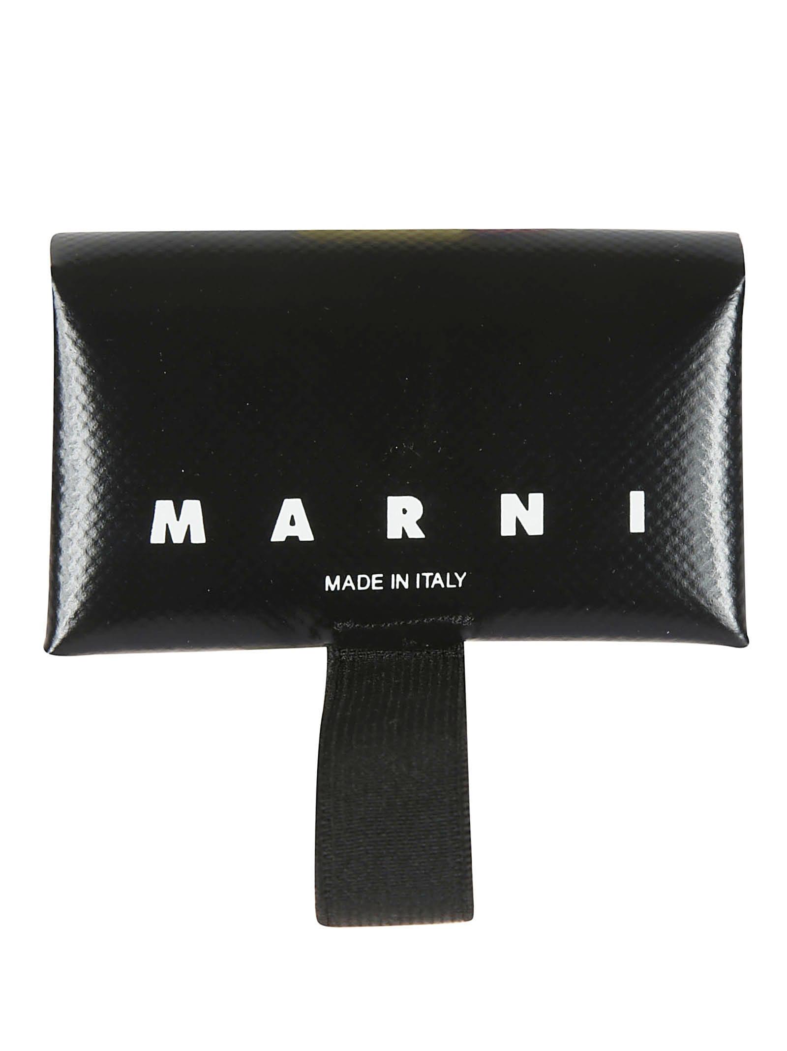Marni Logo Print Leather Wallet In Black