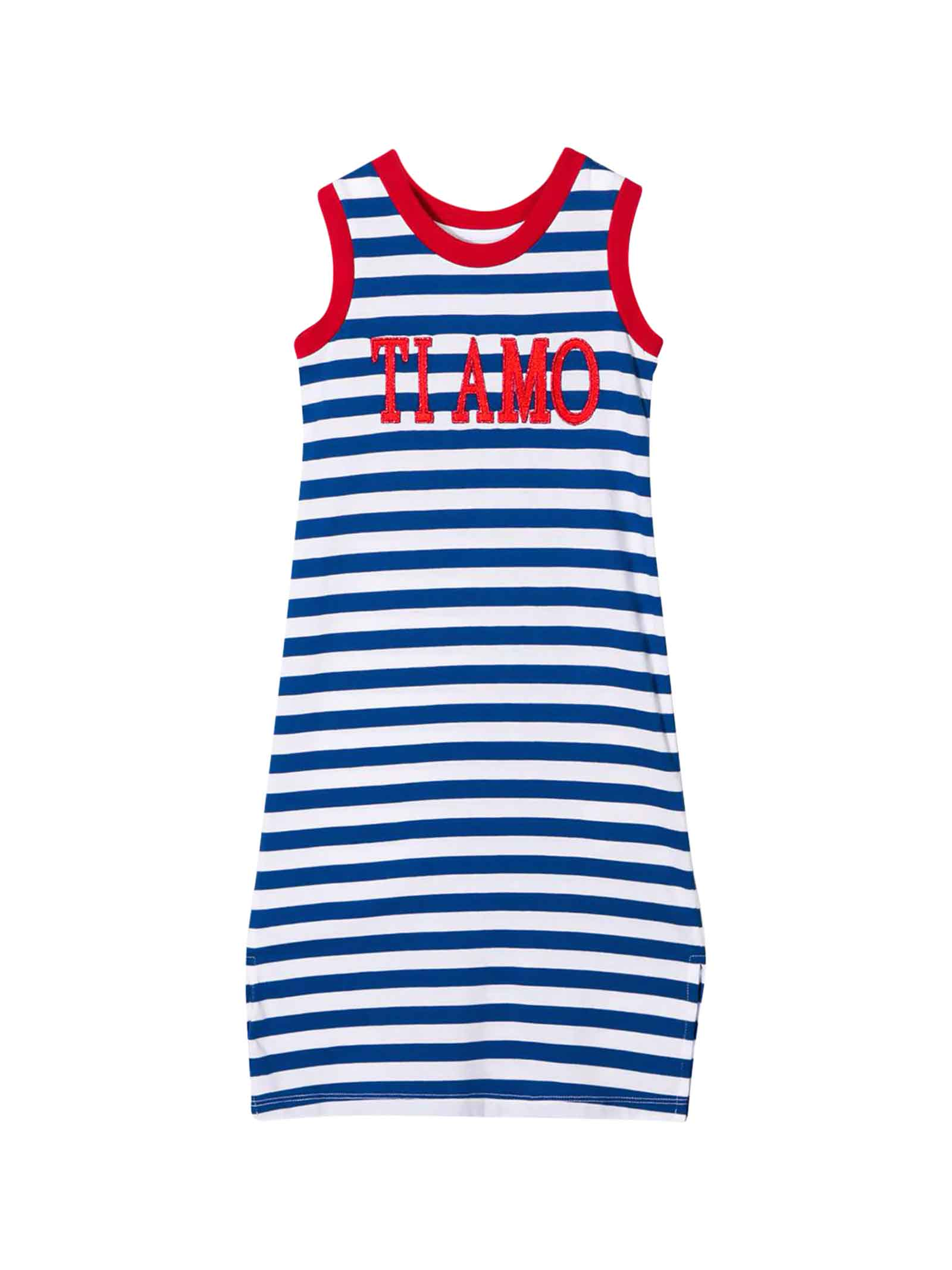 Buy Alberta Ferretti White Dress With Blue Striped Teen online, shop Alberta Ferretti with free shipping