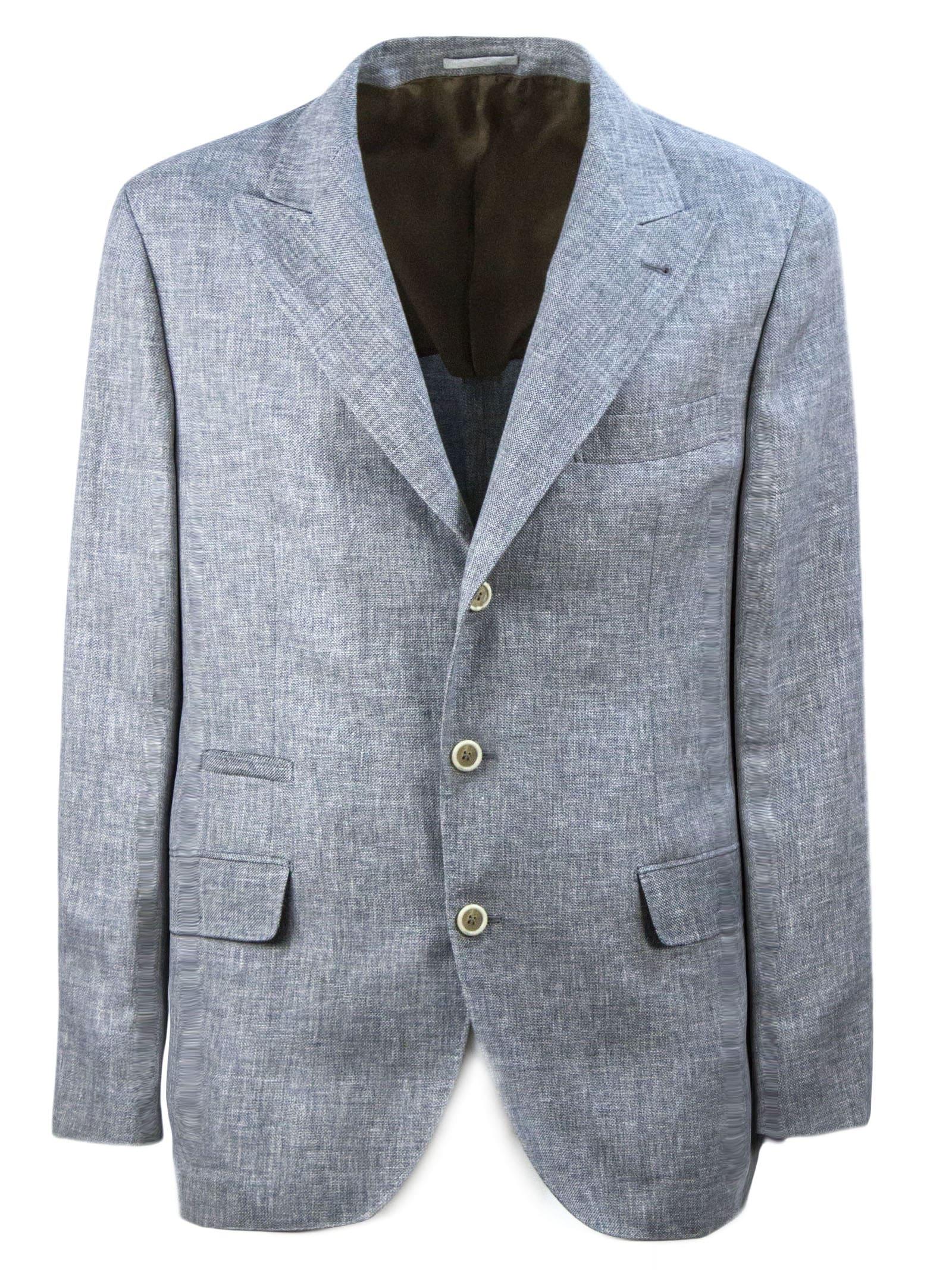 Brunello Cucinelli Grey Tailored Linen Blazer