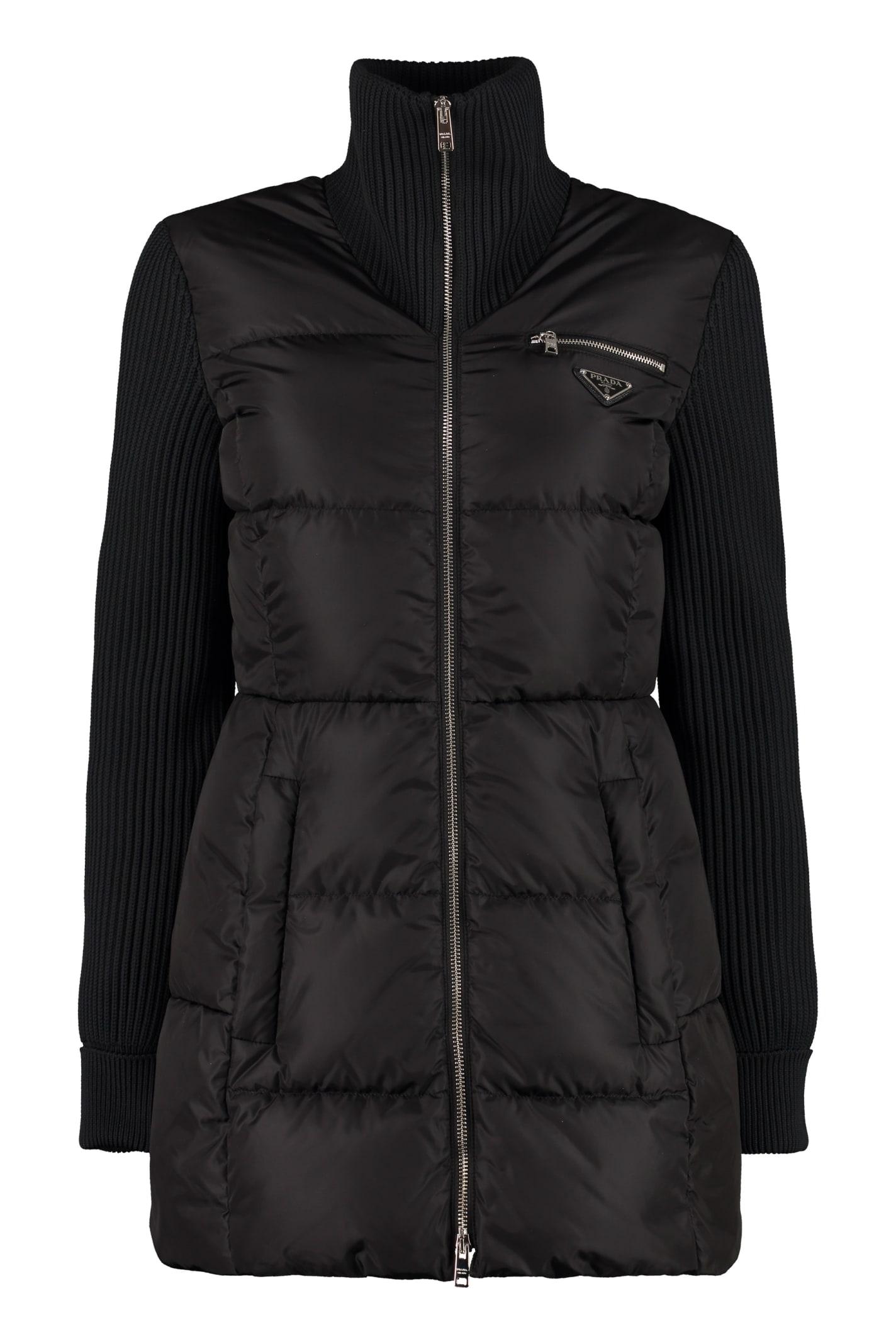 Prada Full Zip Padded Jacket With Belt