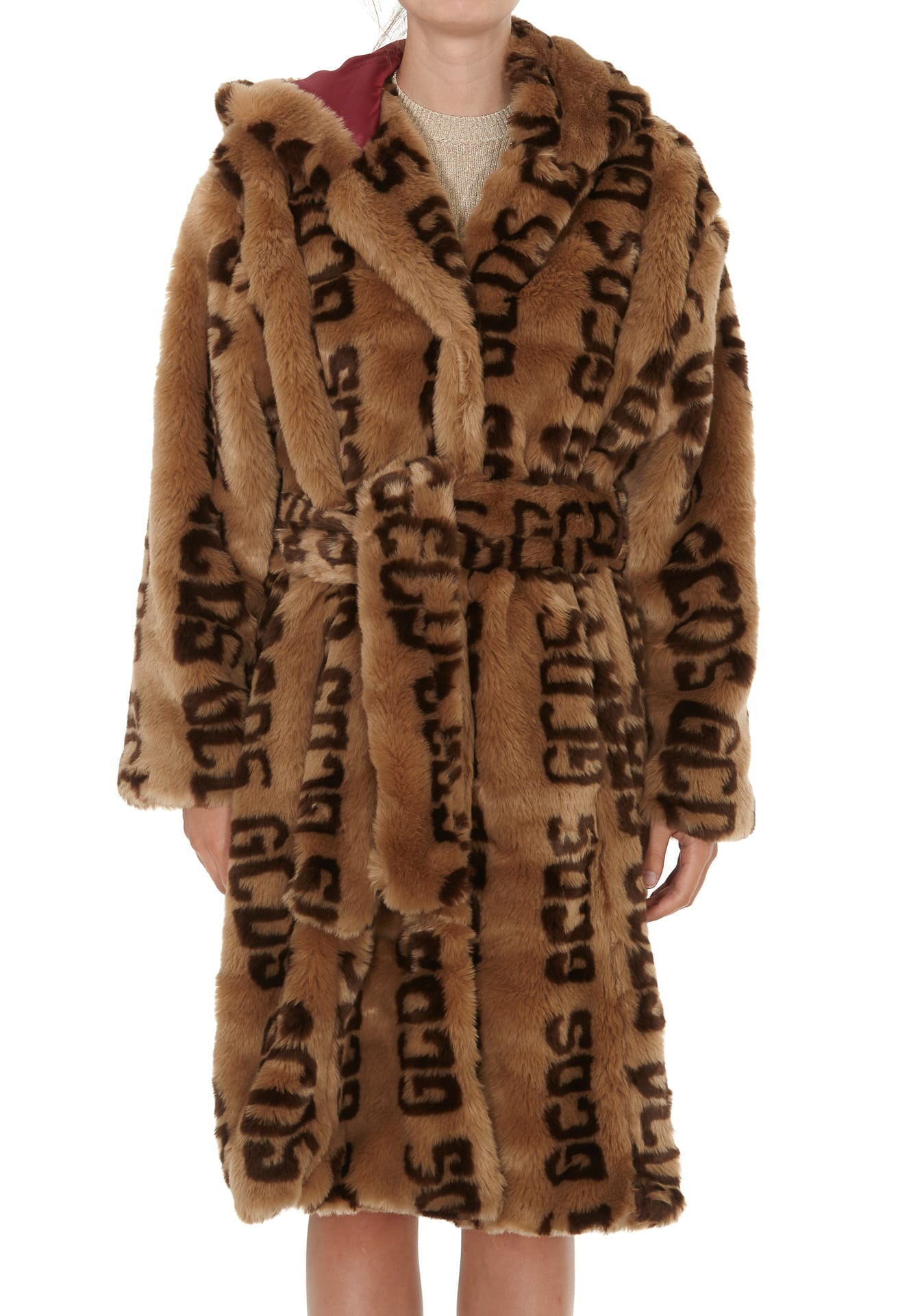 Gcds Monogram Birds Eco Fur Coat