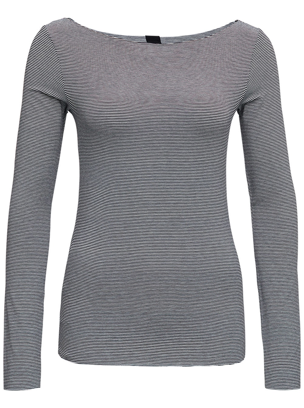 Long-sleeved Grey T-shirt With Boat Neck