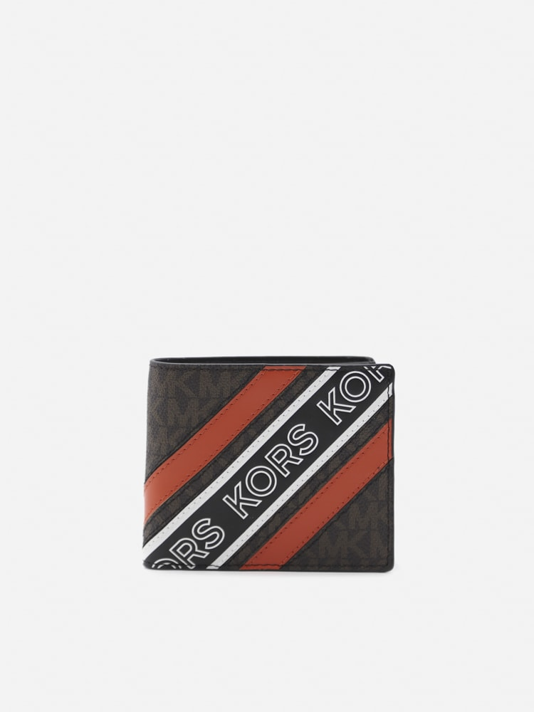 Michael Kors Hudson Wallet With Contrasting Logo Print In Brown