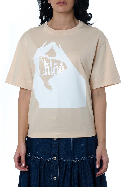 Chloé Misty Rose Cotton Printed T-shirt