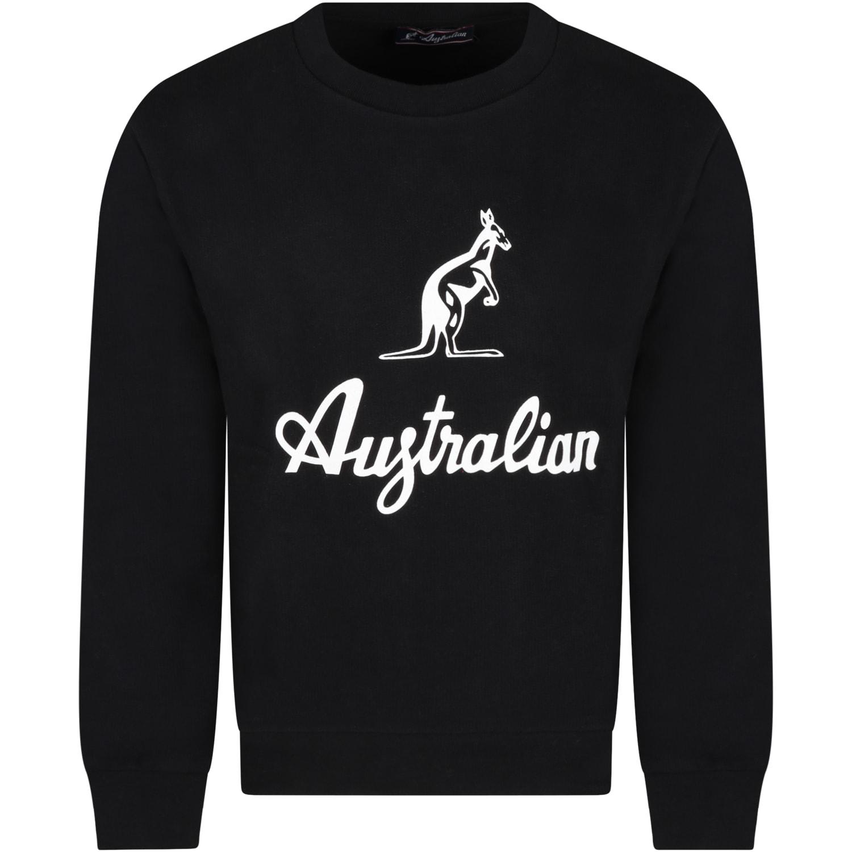 Black Sweatshirt For Boy With Logo