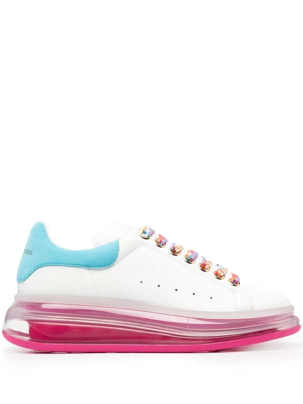 Alexander Mcqueen WOMAN WHITE, PINK AND LIGHT BLUE OVERSIZE SNEAKERS