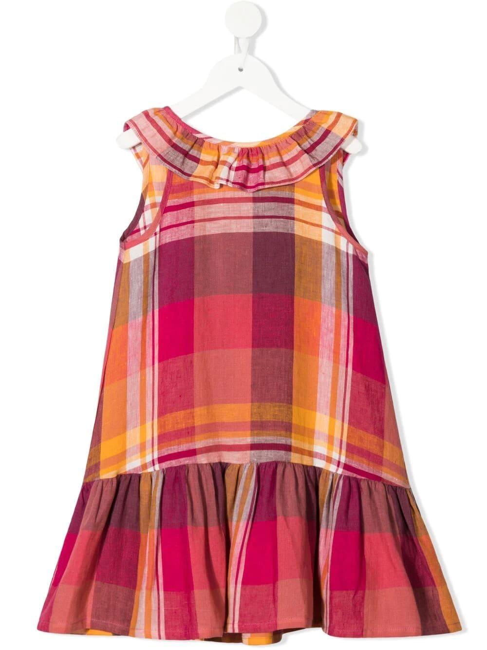 Check Print Linen Dress