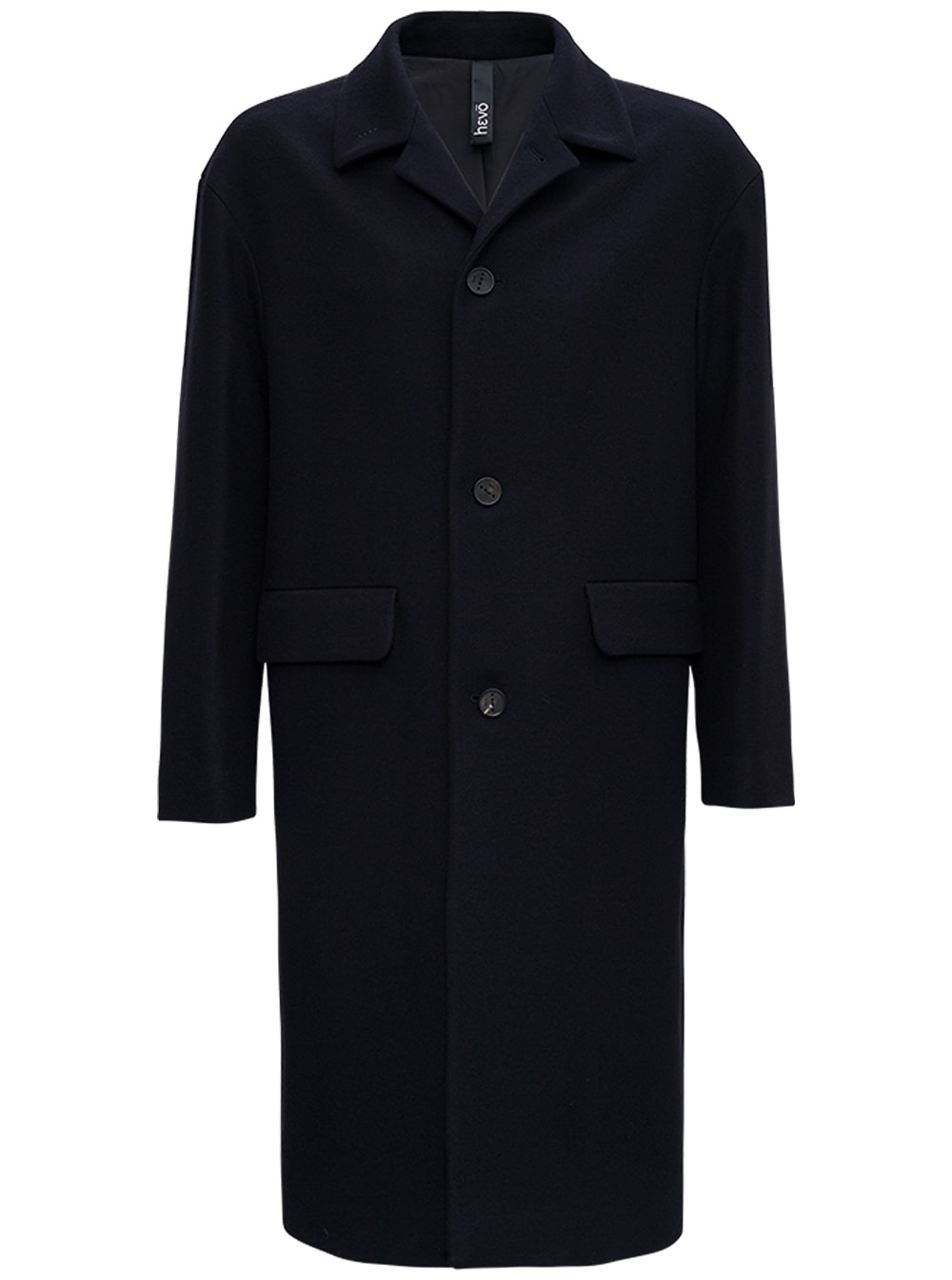 Single Breasted Blue Wool Long Coat