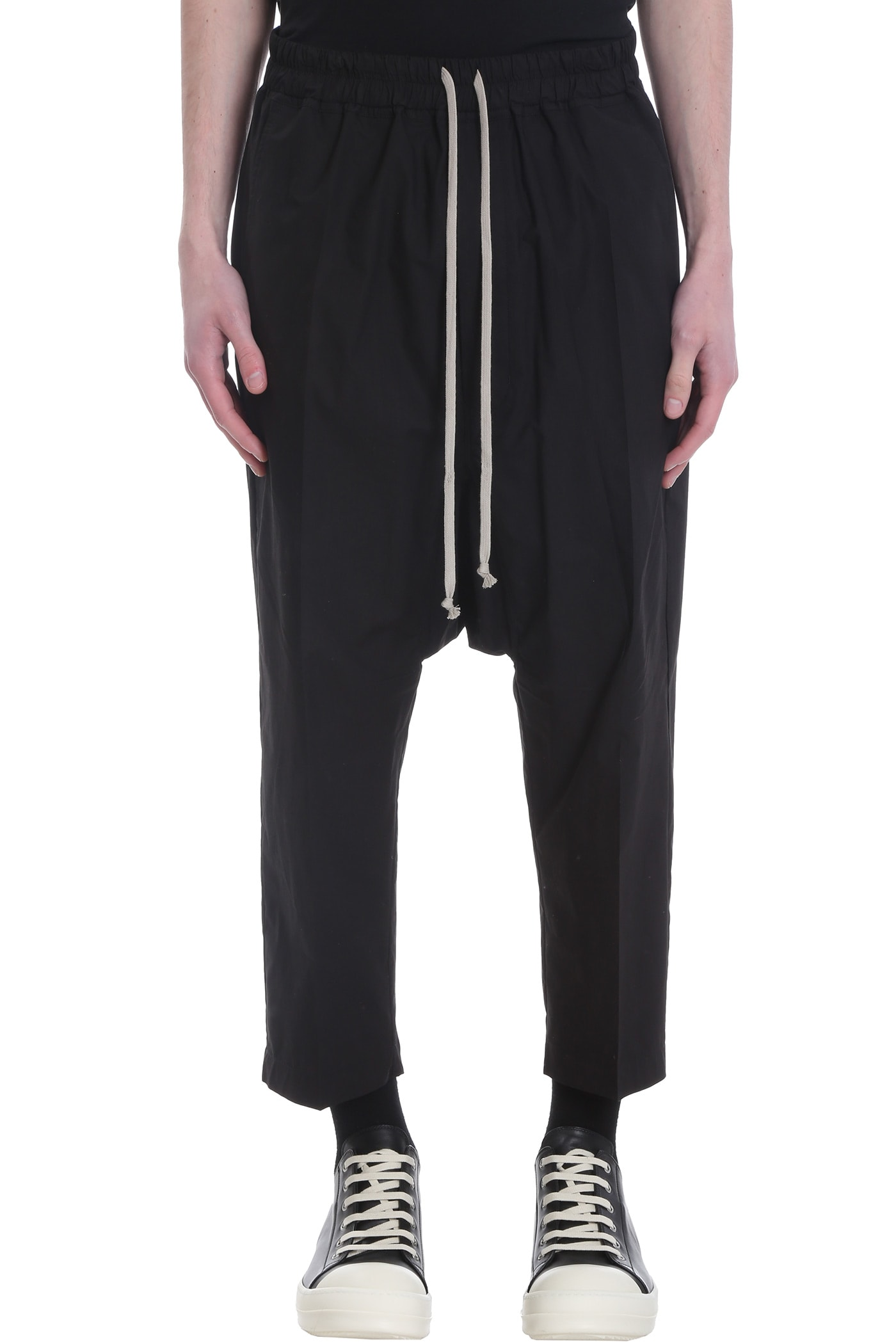 Rick Owens Drawstring Pants In Black Cotton