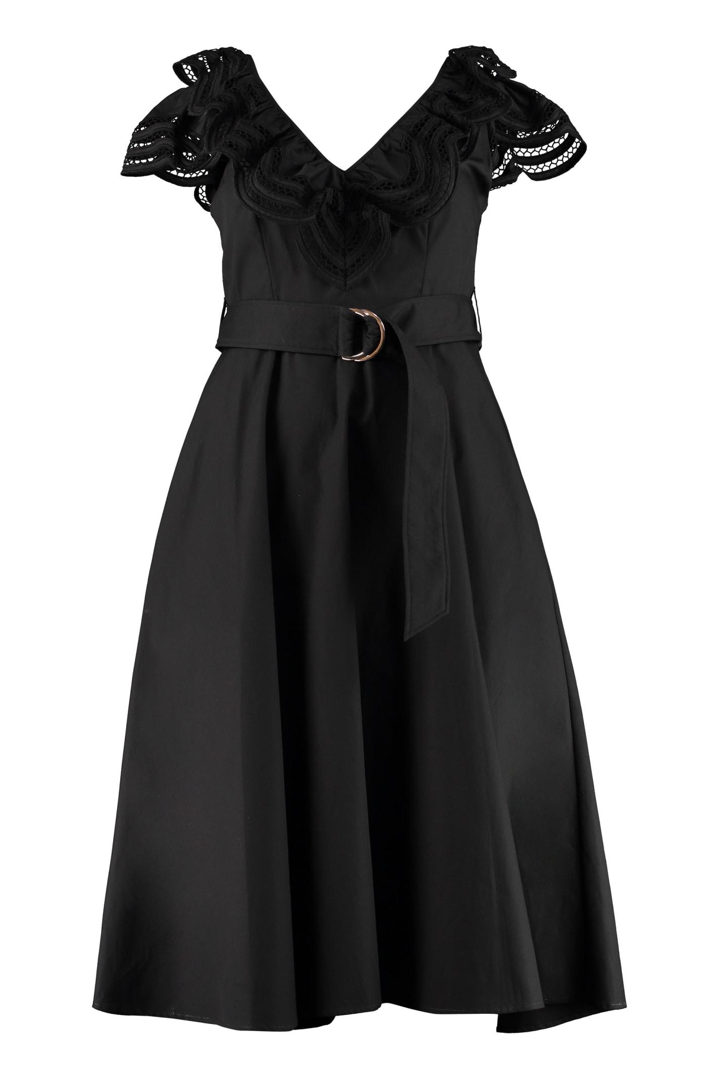 Buy Parosh Midi Dress With Belt online, shop Parosh with free shipping