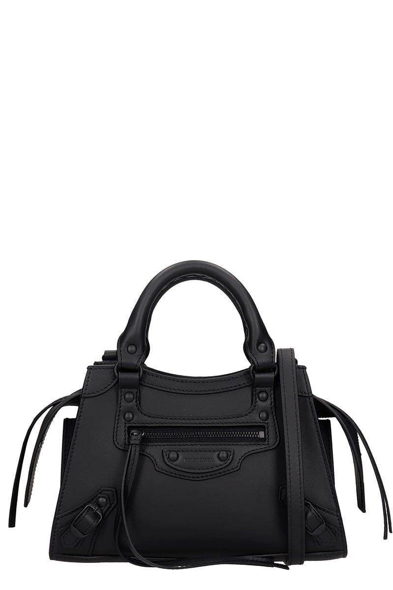Balenciaga Neo Class City Hand Bag In Black Leather