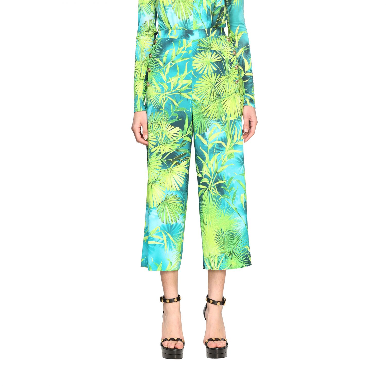 Versace Pants Wide Versace Trousers With Jungle Print