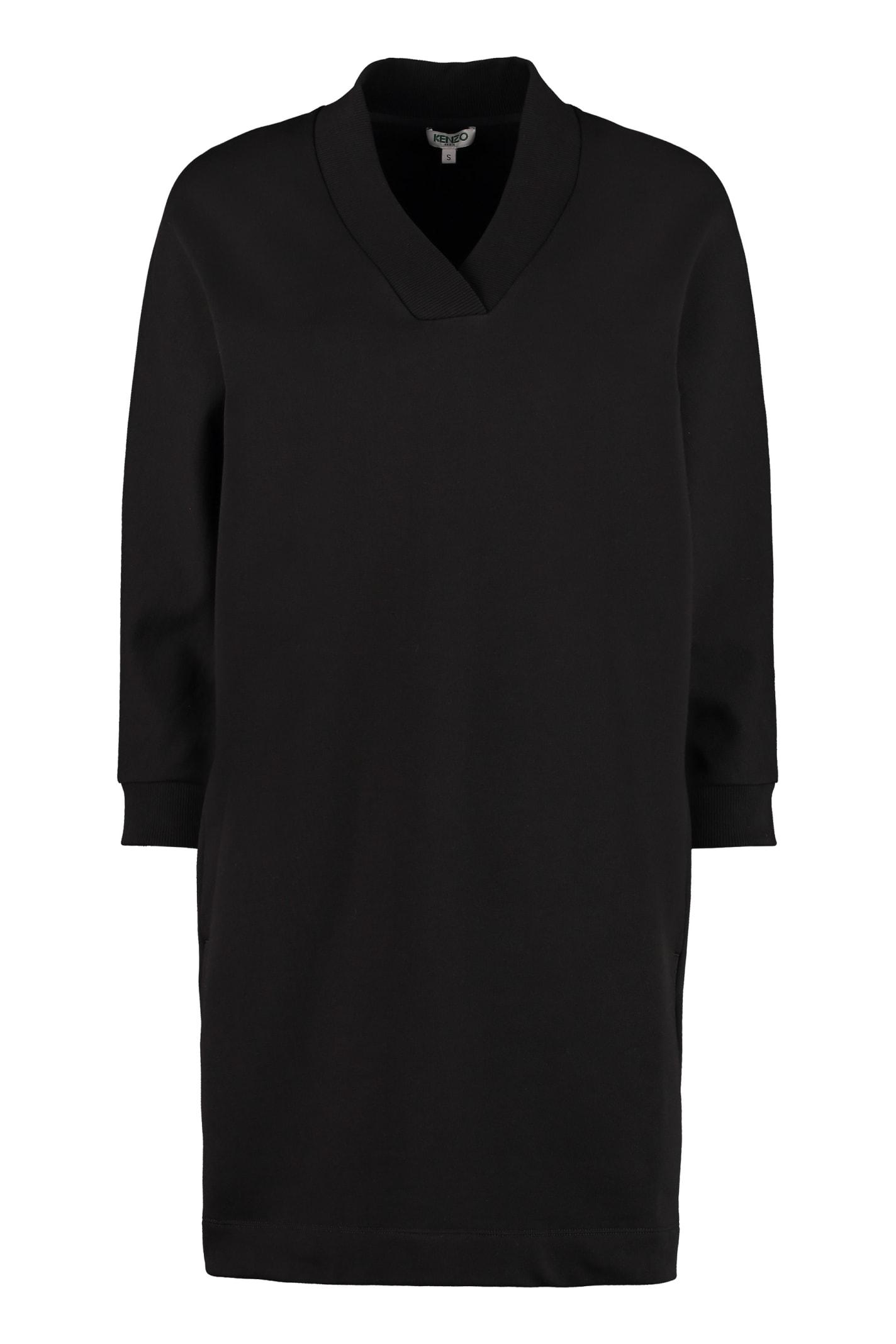 Buy Kenzo Logo Print Cotton Sweatdress online, shop Kenzo with free shipping