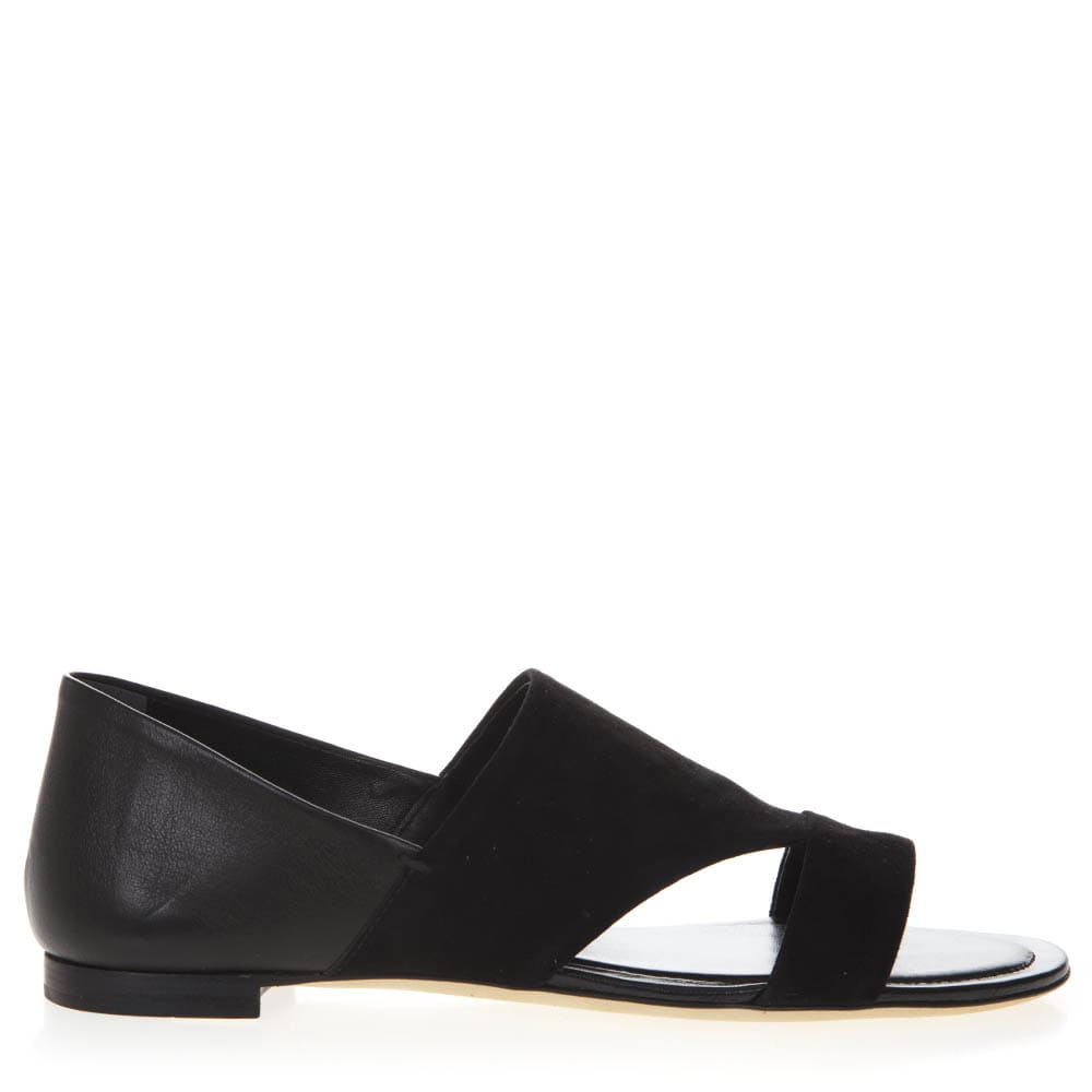 Tods Black Leather & Suede Low Sandals