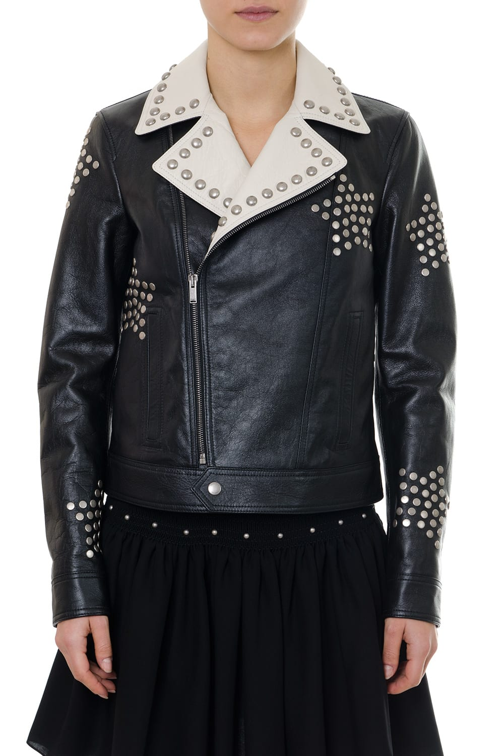 Saint Laurent Black Leather Biker Jacket Embroidered With Studs