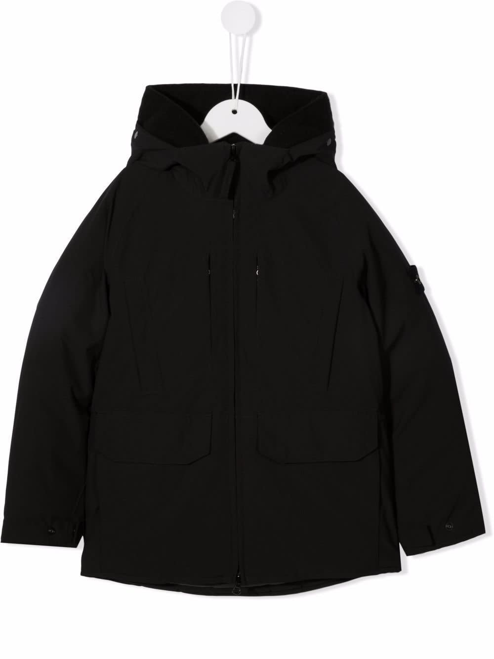 Stone Island Junior Kids Black Soft Shell-r E.dye® Technology Down Jacket In Nero