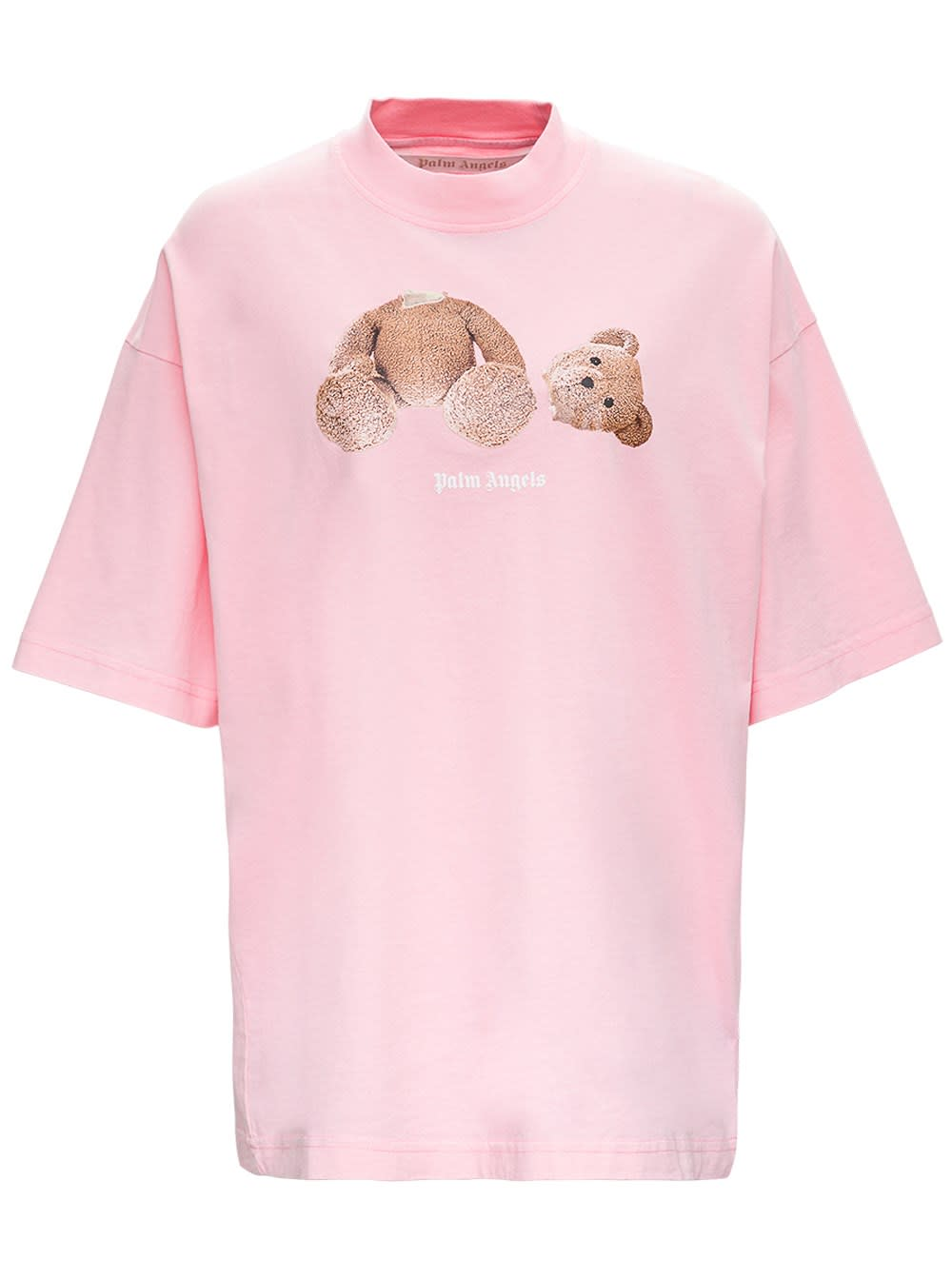 Palm Angels Cottons BEAR OVERSIZE T-SHIRT IN PINK JERSEY